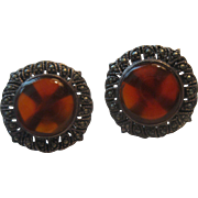 Stunning Sterling Silver Earrings with Polished Baltic Amber & Marcasites