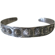 Old Pawn Fred Harvey Era Stamped Signed Native American Silver Cuff Bracelet