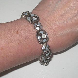 Breathtaking Vintage MOP Sterling Silver & Marcasite Ring and Bracelet Set