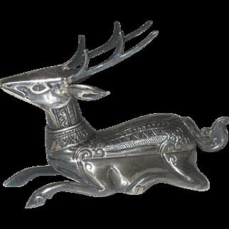 Vintage Mid Century Sterling Silver Figural Reindeer Stag Trinket Box signed