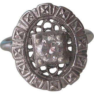 Stunning Antique 14k White Gold And Diamond Ring