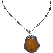 Huge Vintage Egg Yolk Butterscotch Amber Pendant, Necklace in Sterling Silver