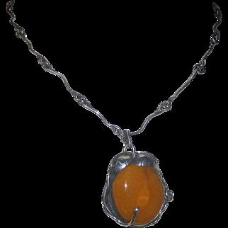 Huge Vintage Egg Yolk Butterscotch Amber Pendant, Necklace in Sterling Silver