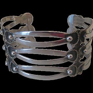 Vintage Wide Sterling Silver Cuff Bracelet Iguala Mexico singed JRA