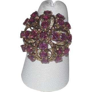 Beautiful 14k Gold & Ruby Vintage Harem Princess Ring