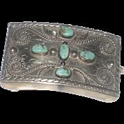 Vintage Men's Turquoise & Alpaca Western Belt Buckle