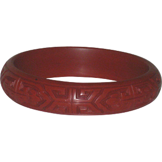 Deeply Carved Large Chinese Cinnabar Bangle Bracelet fits Medium to Large Wrist
