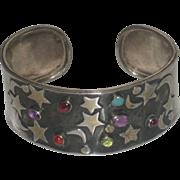 Vintage Sterling Silver Moon & Stars Multi Gemstone Cuff Bracelet