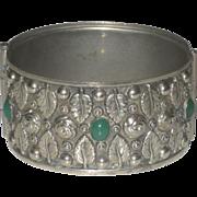 Vintage Sterling & Chrysoprase  Wide Hinged Bracelet Leaf & Rose Design