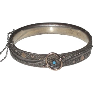 Antique Austro Hungarian Sterling Silver Bracelet, Rose Gold Stars & Persian Turquoise