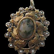 Ar Nouveau 14k Rose Gold Agate & Seed Pearl Antique Pendant