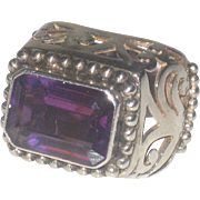 Huge Vintage Amethyst and Sterling Silver Statement Ring