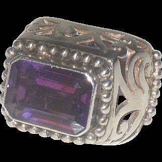 Huge Vintage Amethyst and Sterling Silver Statement Ring