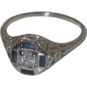 Estate Antique 14k White Gold Sapphire &  Diamond Ring size 7 3/4