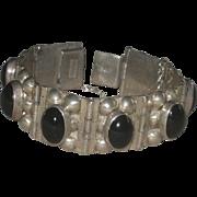Sterling Silver & Onyx Link Hinged Panels Bracelet Taxco