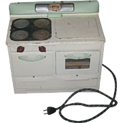 Vintage Little Lady Child's Electric Play Stove Oven Jadite Green & Cream