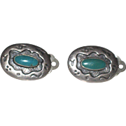 Early Native American Old Pawn Sterling & Turquoise clip back earrings