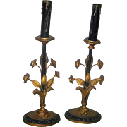 Vintage Art Nouveau Candlestick Lamp Pair Gilt & Black Metal
