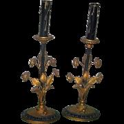 Vintage Art Nouveau Candlestick Lamp Pair Gilt & Black Metal