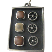 Vintage Mid Century Modernist R. TENN Tennesmed signed and numbered Pewter and Stone Pendant Sweden