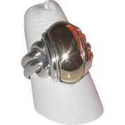 James Avery Retired Elongated Knot Dome Ring in 14k Gold & Sterling Silver sz 8