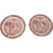 Set of Two Little Mae Antique Child's 1880s ALLERTON & Sons Staffordshire Plates With Dog