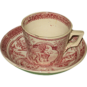 Little Mae Child's Toy Cup & Saucer 1880's ALLERTON & Sons Staffordshire