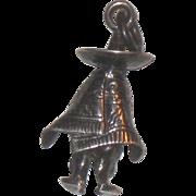 Vintage Sterling Silver Mexican Man in Serape Sombrero Charm MC-177