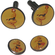 Vintage Pin-up Girl Men's Cuff Link Set with cuff buttons