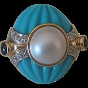 Stunning Vintage Estate 14k Gold, Diamond, Mabe' Pearl, Turquoise & Sapphire Ring