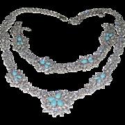 Vintage Sterling Silver Designer signed Sleeping Beauty Turquoise, Rhinestone Bracelet & Necklace Set