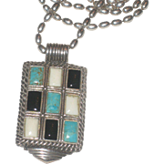 Large Turquoise White & Black Onyx Multi Color Sterling Silver Pendant Necklace with Chain