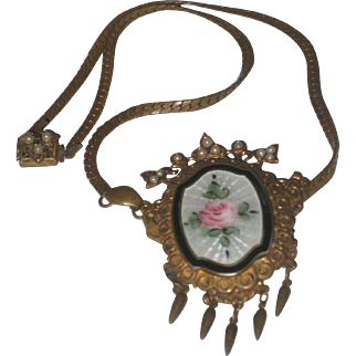 Pretty 1920's Vintage Guilloche Enamel Pendant Necklace with Pink Rose & Seed Pearls