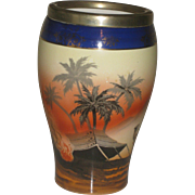 Vintage Hand Painted Pearlwhite Vase with Bedouin Scene, Camel, Cobalt Trim and silver rim, Bohemia