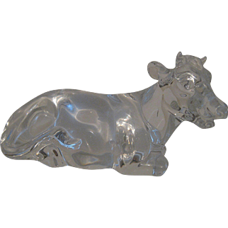 "Crystal Paperweight Figurine ""Chloe"" the Cow by Princess House made in Germany"