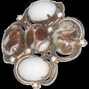 Stunning Large Hobe' Art Glass Brooch