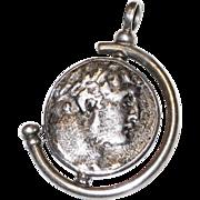 Ancient Roman Coin Pendant in Swivel Sterling Bezel Setting