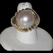 Huge Vintage Mabe' Pearl & 14k Gold Cocktail Statement Ring