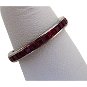 Vintage Art Deco 18k White Gold and Channel Set Ruby Eternity Band Ring