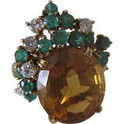 Estate Vintage 18k Gold Citrine Topaz, Emerald & Diamond Right Hand Ring sz 7.5