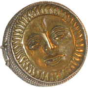 Huge Vintage Sun Face Sterling Silver Poison Ring sz 7 3/4