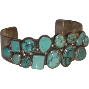 Gorgeous Multi Stone Turquoise & Sterling Silver Navajo Cuff Bracelet