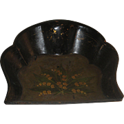 Victorian Papier Mache Silent Butler Crumb Tray with Hand Painted Lilly of the Valley Flowers