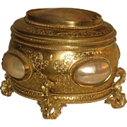 Antique Victorian Gilt Footed HInged Trinket Jewelry Casket, with Mother of Pearl Shells & Angels