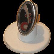 Huge Vintage Modernist ORR Sterling & Enamel Ring Size 6 3/4