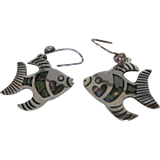 Vintage Sterling Silver Taxco Angelfish Abalone Earrings