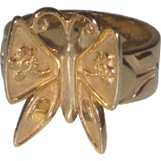 """James Avery Retired """"Mariposa"""" Ring 14K Yellow Gold """"Butterfly"""" Size 7 3/4"""