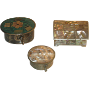 Collection of 3 Vintage miniature trinket pill boxes Alpaca Silver Mother of Pearl Mexico