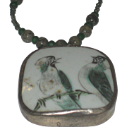 Vintage Silver and bone Asian Necklace with Antique Pottery Chard Pendant with painted Birds