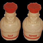 "Vintage White Plastic Happy  Baker or Chef Red Hat 4"" Salt Pepper Shakers"